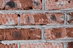 Background from old red brick, concrete stock photo