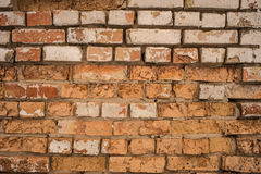 Background with old rough antique brick wall terracotta brick wi Royalty Free Stock Photography