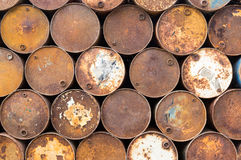 Background of old rusty oil barrels Royalty Free Stock Photo