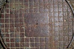 Old rusty round iron hatch Royalty Free Stock Photos