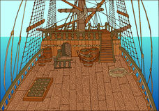Background with old sailing ship deck. Background with wooden deck of old sailing ship, with barrels and ropes, detailed hand drawn illustration Royalty Free Stock Photos