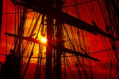 Background -   old sailing ship rigging Stock Photos