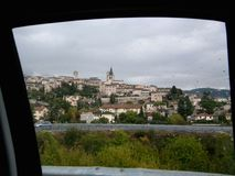 Spello in Italy, view from the car window, drops of rain stock photography