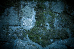 Background of old stone wall with moss. Toned Royalty Free Stock Images