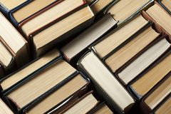Stack of used old books,top view. Education background. Back to school. stock images