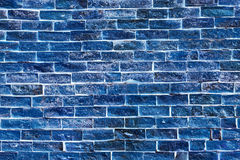 Background of old vintage blue brick wall Stock Photo
