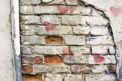 Background of old vintage brick wall. Fragment Royalty Free Stock Photo