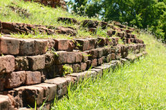 Background of old vintage brick wall. Background wall brick by brick lined the walls royalty free stock photo