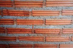 Background of old vintage brick wall texture with highlight stock photo