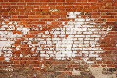 Background of old vintage brick wall with white spot of paint. Vintage brick wall feame with room for text. stock photos