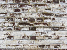 Background of old vintage dirty brick wall with peeling plaster, texture. Royalty Free Stock Photo