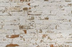 Background of old vintage dirty brick wall with peeling plaster, texture stock image