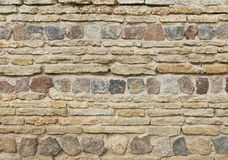 Background of old vintage limestone wall with granite stones Stock Images