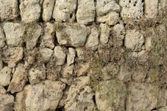 Background of old wall texture, traditional Mallorcan masonry wi. Majorcan traditional masonry plastered with lime. Walls of the village of Santanyi Royalty Free Stock Images