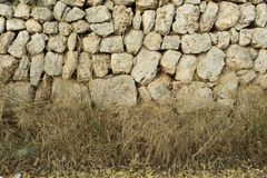 Background of old wall texture, traditional Mallorcan masonry wi. Majorcan traditional masonry plastered with lime. Walls of the village of Santanyi Royalty Free Stock Image