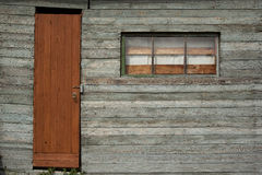 Background of old  wall with window and door Stock Photo
