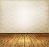 Background with old wall and a wooden floor. Stock Photography
