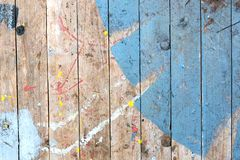 Background of an old weathered painted wooden deck. royalty free stock photo