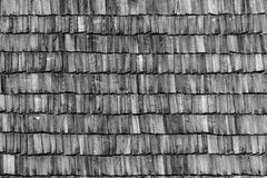 Background of old wood roof. Horizontal, monochrome picture, the theme - the elements of historic architecture Royalty Free Stock Photo