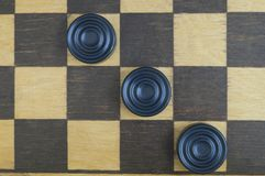 Background old wooden chess Board royalty free stock images