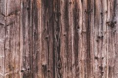 Background from old worn, darkened from time to time, brown knotty vertical wooden plank close up.  royalty free stock images
