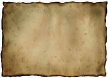 Old yellowed and stained sheet of paper royalty free stock image