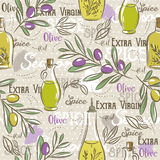 Background with olive, bottle oil, leafs and spice. Stock Photography