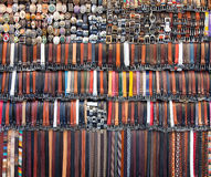 Background of olored leather belts Stock Images