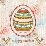 Background with one easter egg and text Stock Photos