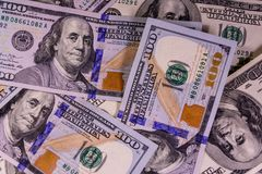 Background of one hundred dollars bills Royalty Free Stock Photo