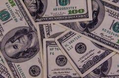 Background of one hundred dollars bills. Heap of the one hundred dollars bills for background Stock Images