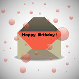 Happy Birthday. Background with an open envelope containing a letter on which is written the text Happy Birthday. Birthday anniversary concept vector illustration
