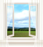 Background with an open window and a landscape. Royalty Free Stock Photo