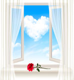 Background with an open window and a red flower. Royalty Free Stock Photo