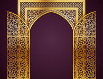 Background with Opened Doors Arabic Pattern. Ramadan background with golden arch, wit opened doors, with golden arabic pattern, background for holy month of stock illustration