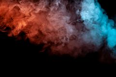 Background of orange, purple, red and blue wavy smoke on a black  ground. Abstract pattern of steam from vape of smoothly. Rising clubs. Mocap and print for t vector illustration