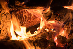 Background of orange and red sparks from a campfire at night Stock Images