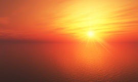 Orange sunset over sea Royalty Free Stock Photo