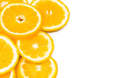 Background with oranges. At the white background Stock Photo