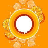 Background with oranges. Ice cubes and soda bubbles. Fresh healthy juice. Delicious flavored cold drink. Stylized citrus fruits whole and slices stock illustration