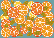 Background of the oranges and lemons. Graphic bright background of citrus fruits and leaves Stock Photos
