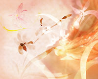Background with orchids. A delightful background with orchids painted in traditional Japanese style, ink Stock Photos