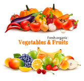 Background With Organic Fresh Vegetables. and Fruits royalty free illustration