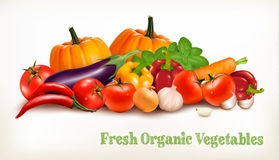 Background With Organic Fresh Vegetables. Healthy Food. Vector vector illustration