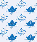 Background with origami boat doodles Stock Image
