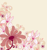 Background with ornament and flowers Stock Photos