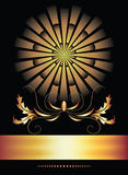 Background with ornament and golden ribbon. Royalty Free Stock Images