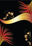 Background with ornament and golden ribbon Stock Images