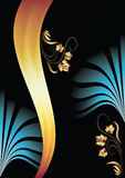 Background with ornament and golden ribbon Stock Photo