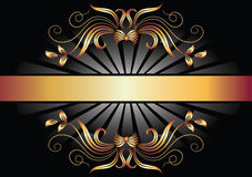 Background with ornament and golden ribbon. Royalty Free Stock Image
